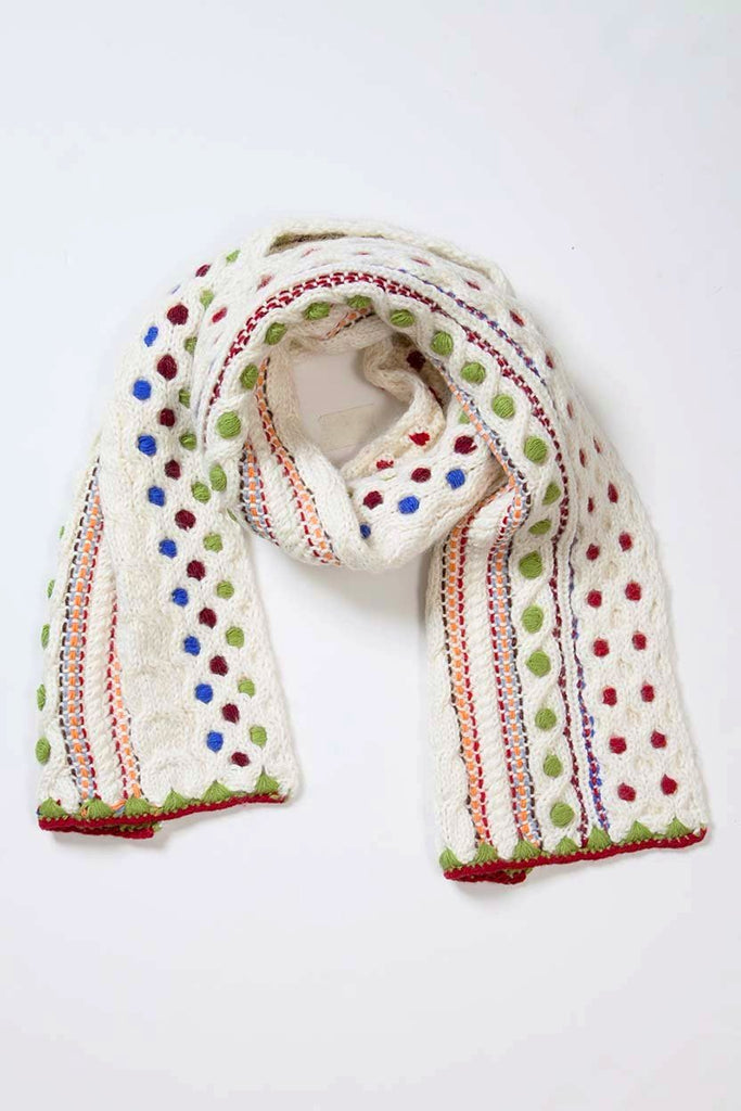 Hand Knit Embroidery Scarf- Ivory