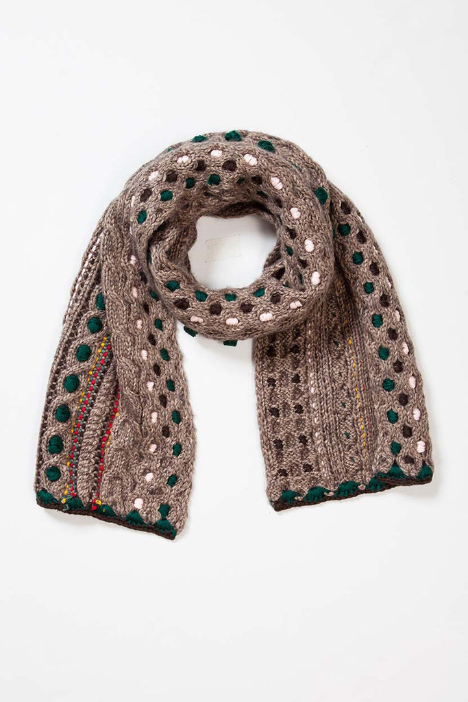 Hand Knit Embroidery Scarf- Camel