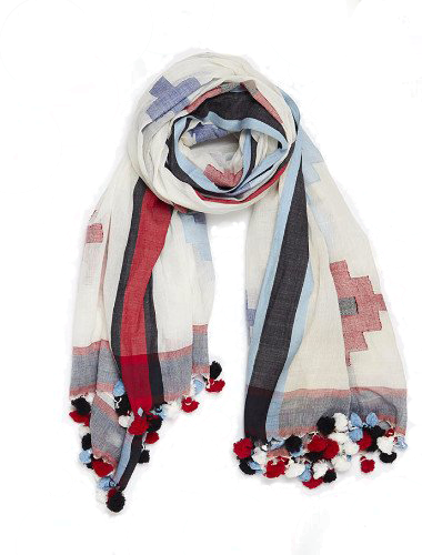 Tangier Handloom Cotton Scarf in Ivory