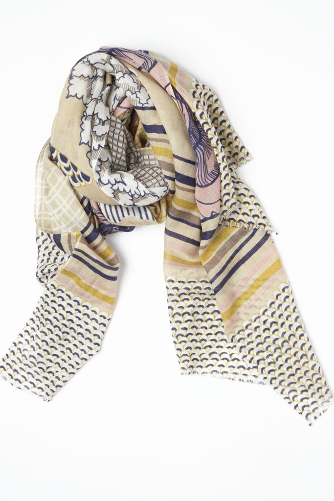 Flower Patch Spring Cashmere Scarf in Camel
