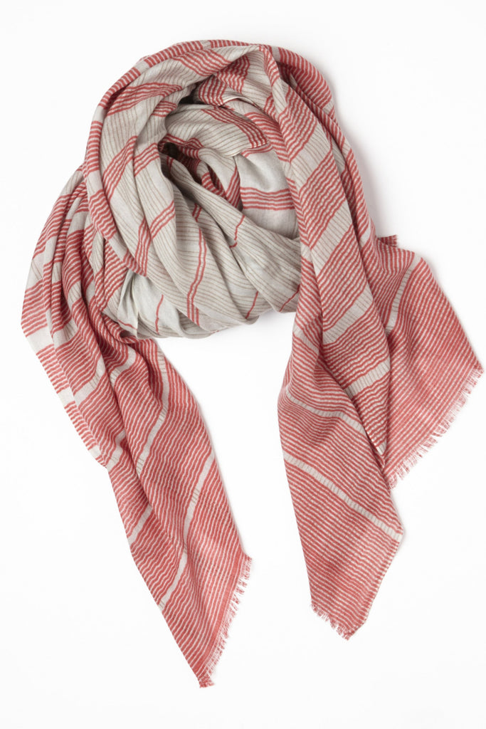 Grid Cashmere Silk Spring Oversize Scarf in Red