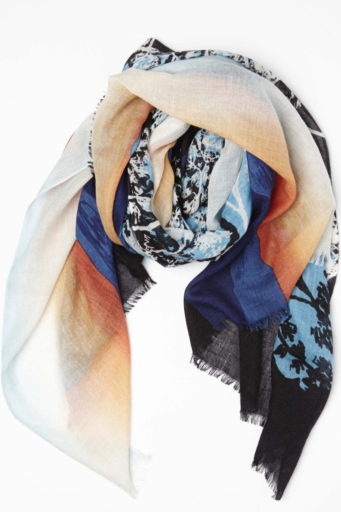 Sunset lake lightweight Cashmere Silk Scarf in Blue's