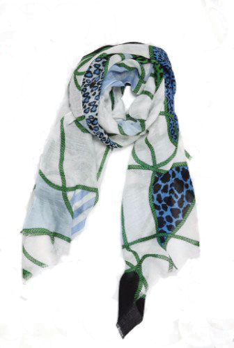 Leopard Ropes Linen Scarf in Blue