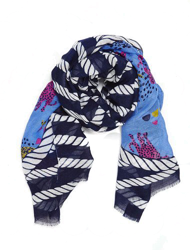 Nautical Animals Linen Scarf in Navy