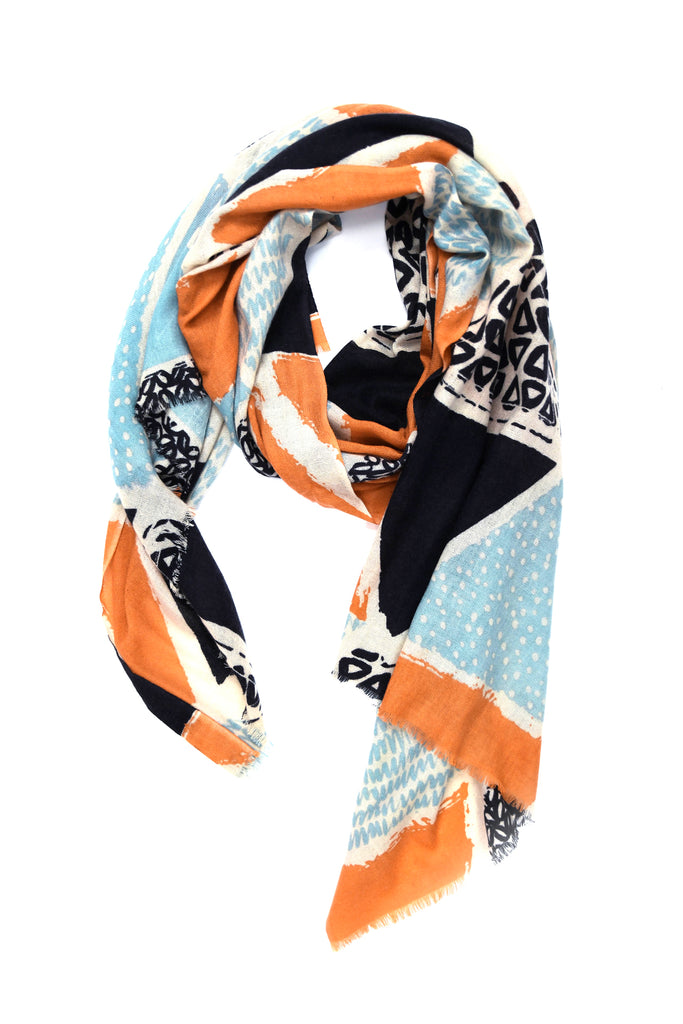 Yarnz Patchwork Scarf in Orange