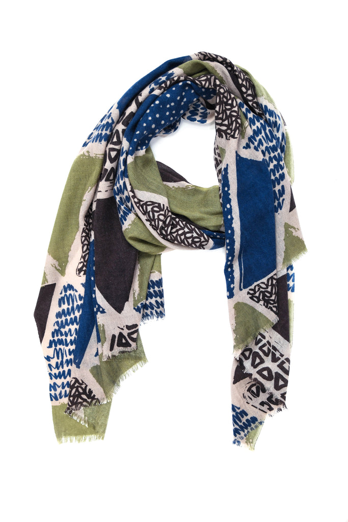 Yarnz Patchwork Scarf in Olive Green
