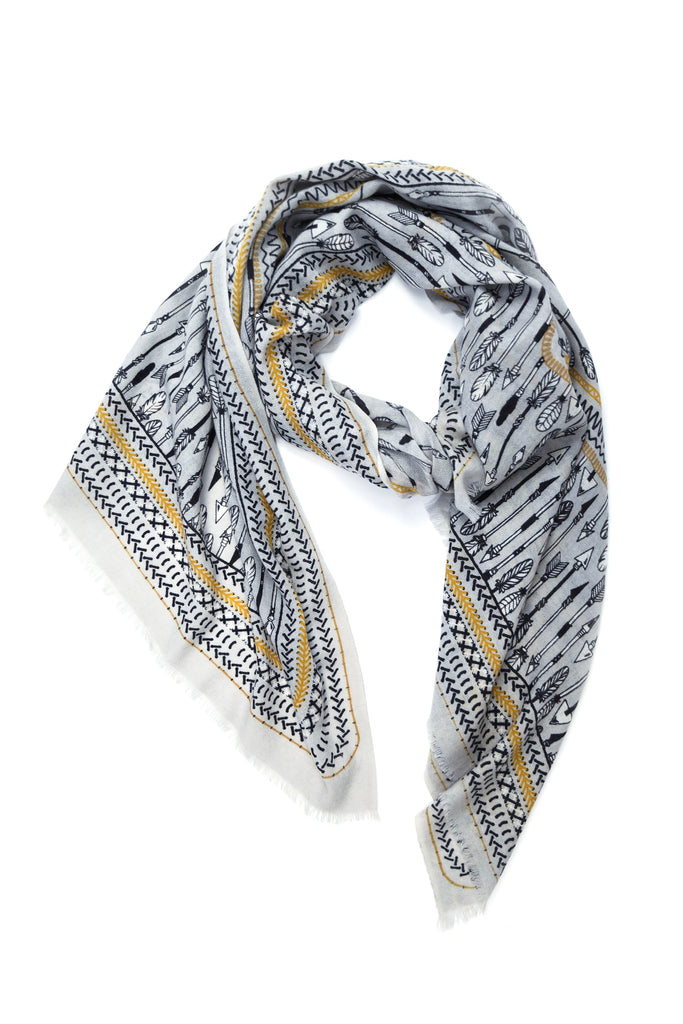 Yarnz Arrow Scarf in Grey