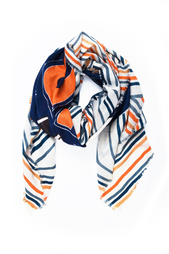 Know You Power Square Cashmere Scarf in Navy