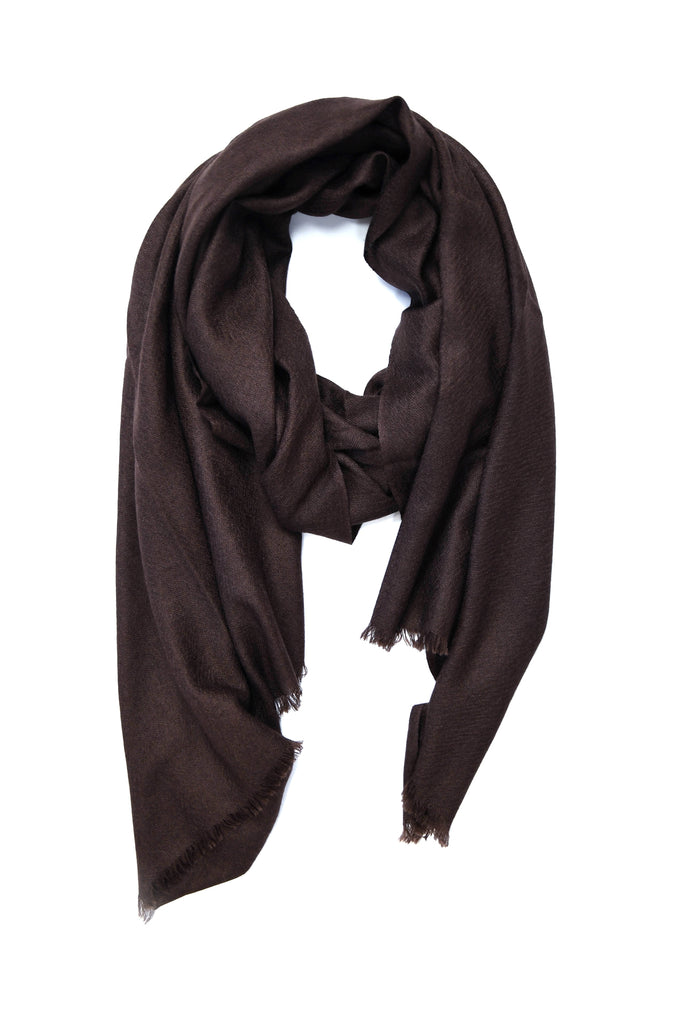 100% Cashmere Basic Scarf in Chocolate