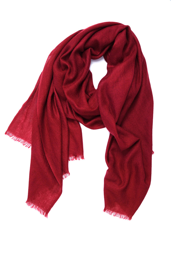 100% Cashmere Basic Scarf in Wine