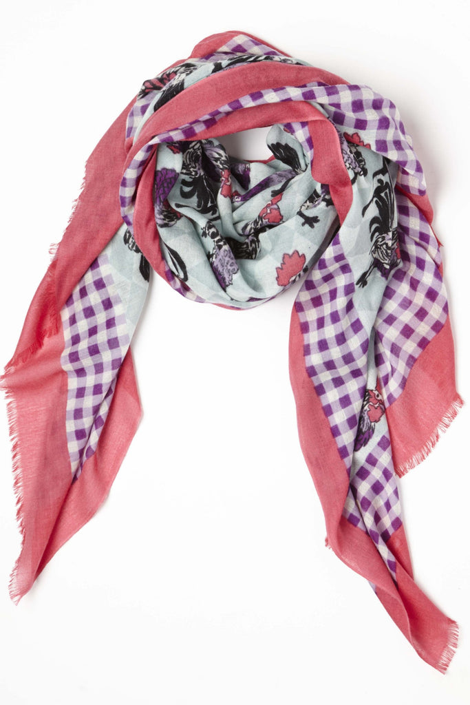 Rooster Gingham lightweight Cashmere Silk Scarf in Blue Pink