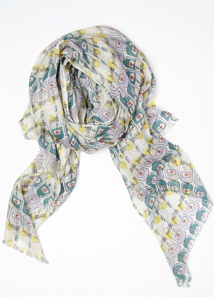 Lemonade Scarf in lightweight cashmere silk pink & teal