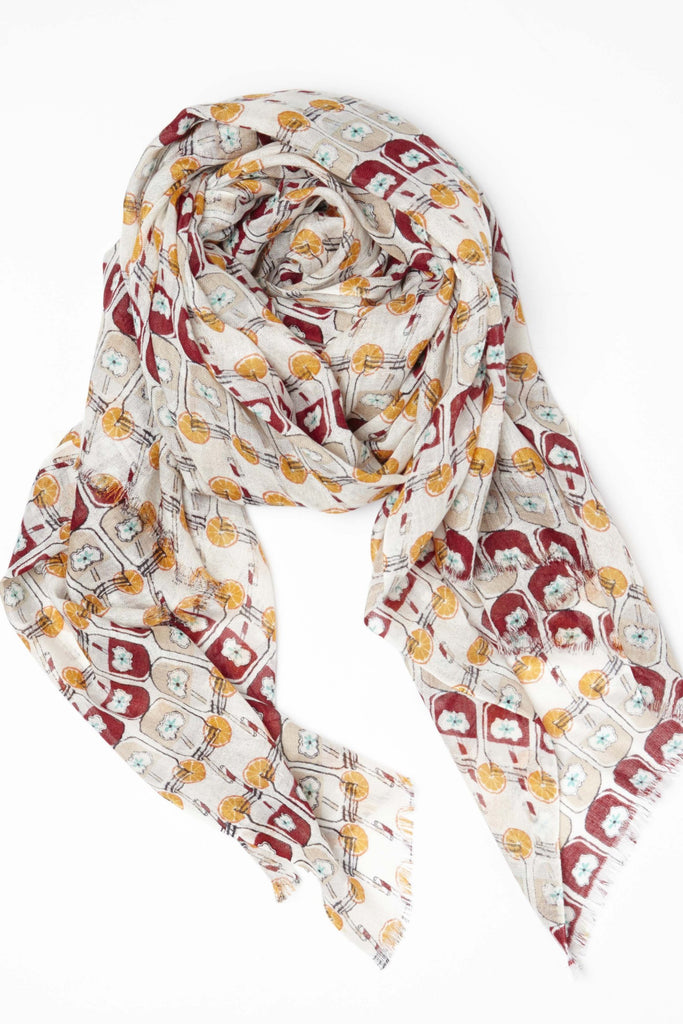 Lemonade Scarf in lightweight cashmere silk Camel Red