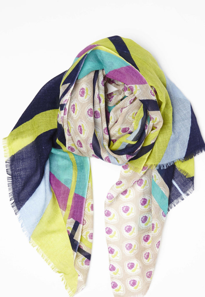 Swirlies w Geo Pattern in Lightweight Cashmere Silk Spring Colors