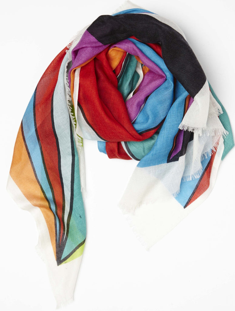 Multi-Colored Triangles Print Spring Scarf