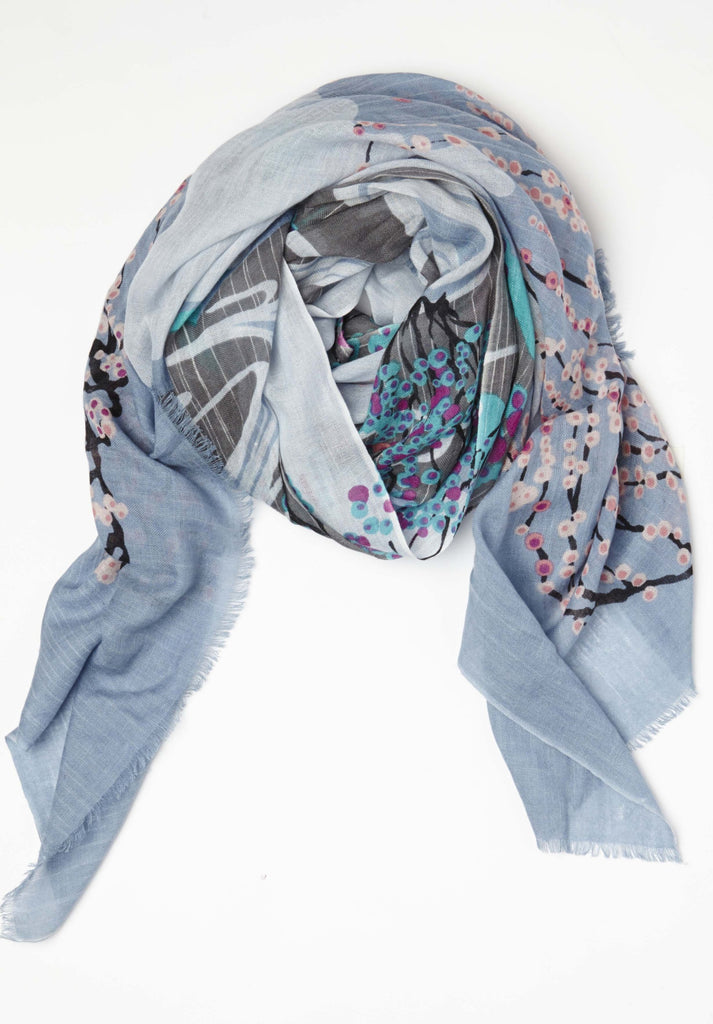 Umbrella Tree Spring Scarf in Cashmere Silk in Light Blue