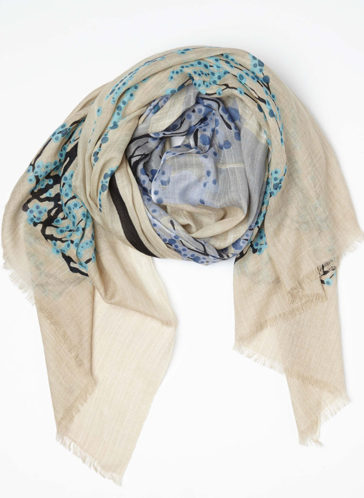 Umbrella Tree Spring Scarf in Cashmere Silk