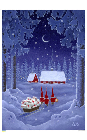 Tomten with Sleigh - Advent Calendar / Eva Melhuish