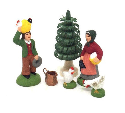 Man with Chickens and Woman with a Chicken Gift Set - Size #1 / Cricket
