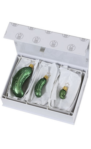 "Legend of the Pickle / Three Ornaments - 1-1/4"", 2-3/4"", and 4-3/4""  / In Presentation Box"