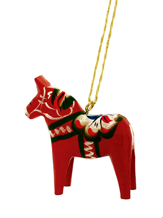 Red Dala Horse Christmas Ornament - 2""