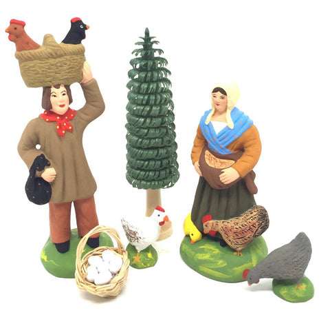 Man with Chickens and Farmer's Wife Gift Set - Size #3 / Grande