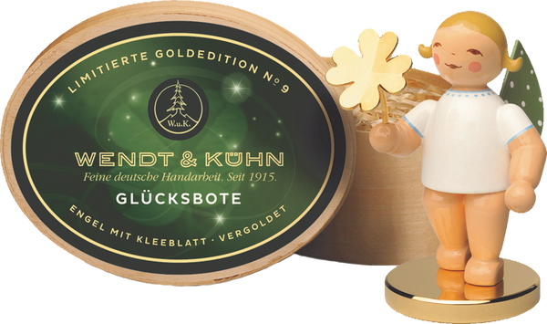Limited Gold Edition No. 9 - Grünhainichen Good Luck Messenger, Angel w/Four-leaf Clover in Splinter Box on a Gold-Plated Base