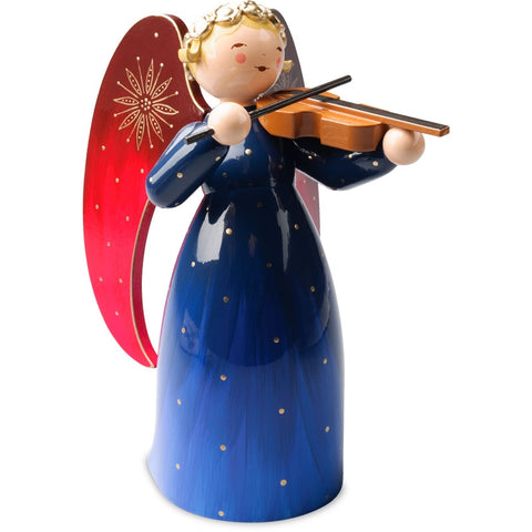 SALE - Large Richly Painted Angel with Violin / Blue - New 2018