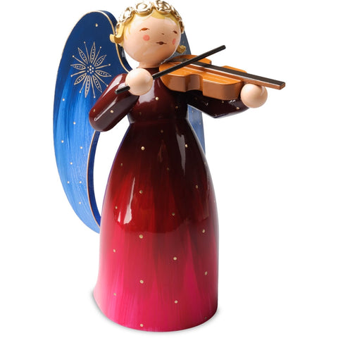SALE - Large Richly Painted Angel with Violin / Red - New 2018