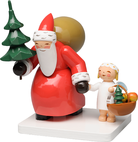 Santa Claus with Tree and Angel