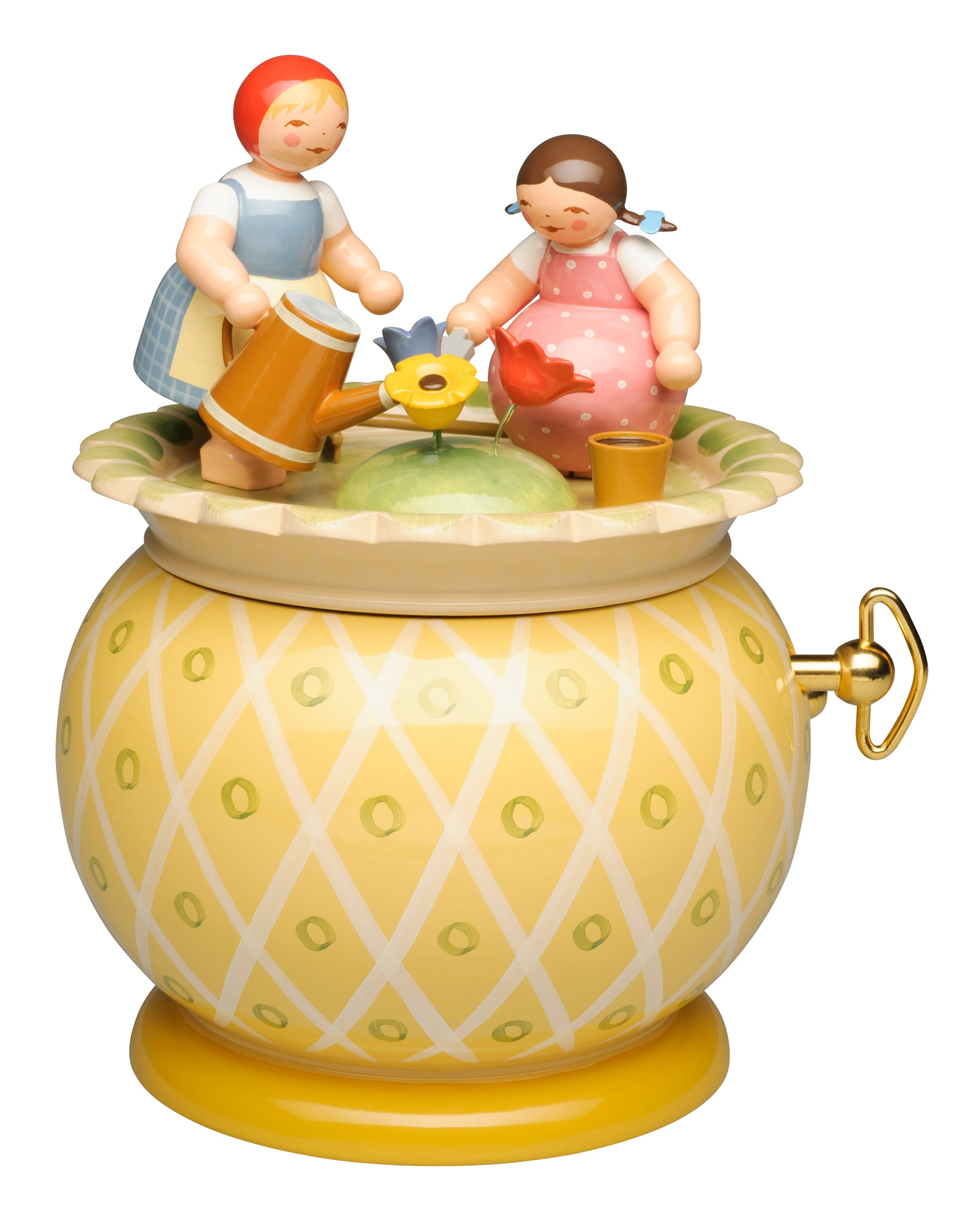Two Girls Tending Their Garden / Wendt and Kühn 18 Note Music Box - New 2018
