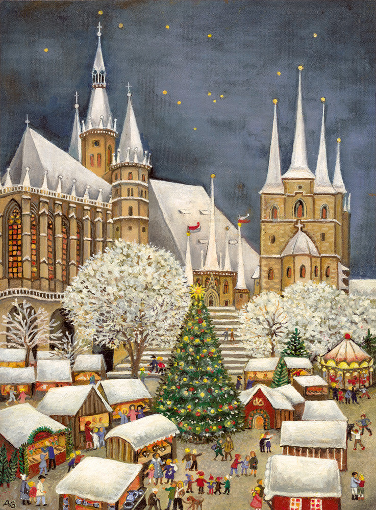 Erfurt Cathedral with Christmas Market Advent Calendar