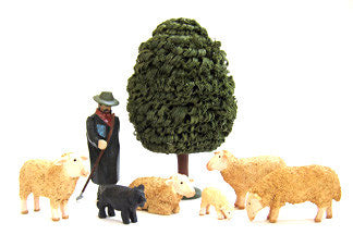Set of Christian Werner flocked Sheep/Shepherd/Tree (8 pieces)