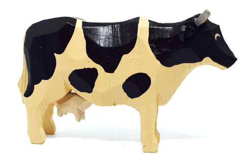 "Black and White Cow, hand-carved - 2-1/4"" / Size Large"