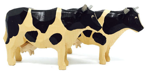 "Black and White Cows, Pair of hand-carved - 2-1/4"" / Size Large"