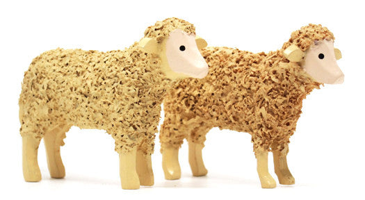 "Sheep, Pair of hand-carved - 1-3/4"" / Size Large"