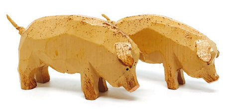 "Pigs, Pair of hand-carved - 1-5/8"" / Size Large"