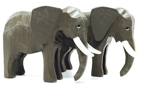 "Elephants, Pair of hand-carved - 3-1/8"" / Size Large"