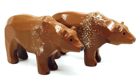"Brown Bears, Pair of hand-carved - 1-3/4"" / Size Large"