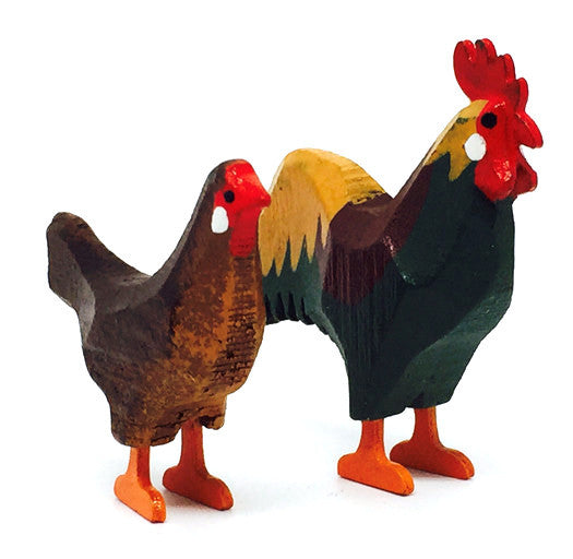"Bantam Chickens, Pair of hand-carved - 1-5/8"" / Size Large"
