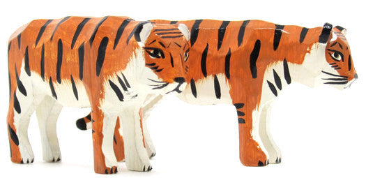 "Tigers, Pair of hand-carved - 1-3/4"" / Size Large"