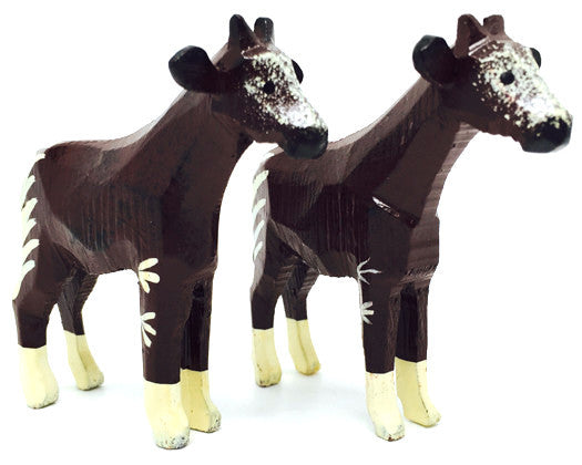 "Okapi, Pair of hand-carved - 2-1/2"" / Size Large"