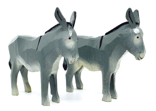 "Donkeys, Pair of hand-carved - 2-3/4"" / Size Large"