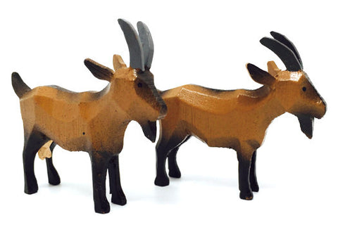 "Goats, Pair of hand-carved - 2"" / Size Large"