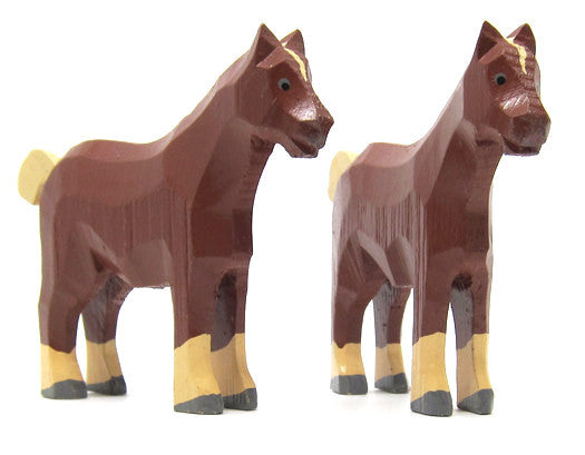 "Works Horses, Pair of Hand-carved - 3-1/8"" / Size Large"