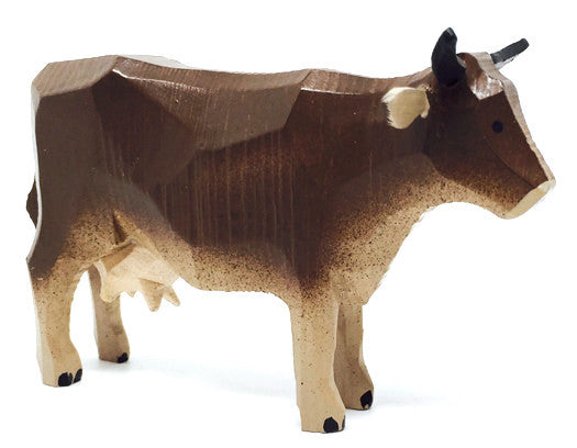 "Brown Cow, hand-carved - 2-1/2"" / Size Large"