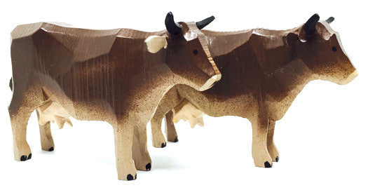 "Brown Cows, Pair of hand-carved - 2-1/2"" / Size Large"