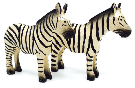 "Zebras, Pair of hand-carved - 2-5/8"" / Size Large"