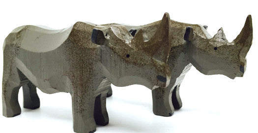 "Rhinoceroses, Pair of hand-carved - 2-1/2"" / Size Large"