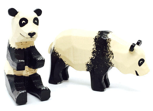 "Pandas, Pair of hand-carved - 2"" / Size Large"